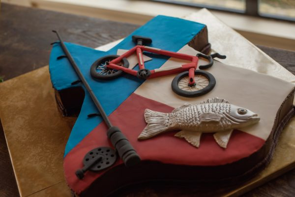 Texas, biking and fishing groom's cake
