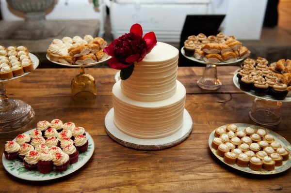 small wedding cake and treats