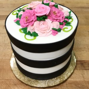 Buttercream flowers and stripe cake