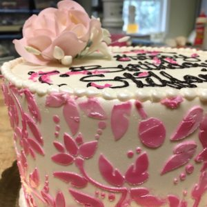 Stencil and flower cake 2